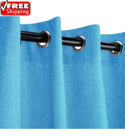 Sunbrella Outdoor Curtain with Nickel Grommets - Capri